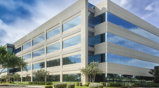 Stylized altered generic corporate modern office building